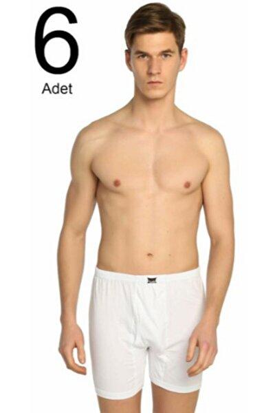 Erkek Beyaz 6'lı Paket Penye Paçalı Külot