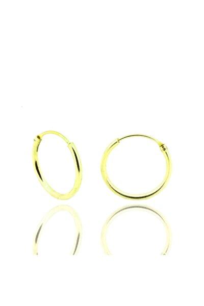 Kadın Gümüş 16 Mm Halka Küpe Altın Yaldız Dgn20228