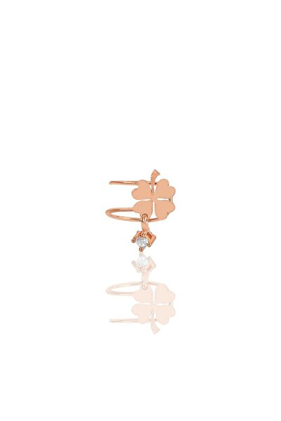 Gümüş Taş Sallantılı Yonca Modeli Kıkırdak Küpe