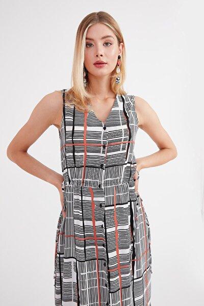 Elbise V Yaka, Ön Tüm Düğmeli, Yan Dikiş Bağcık Detaylı Kolsuz