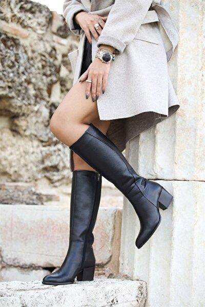 Kadın Siyah  Hakiki Deri Fermuarlı Topuklu Çizme