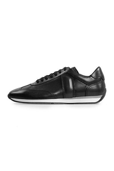 Siyah Deri Bağcıklı Günlük Ayakkabı