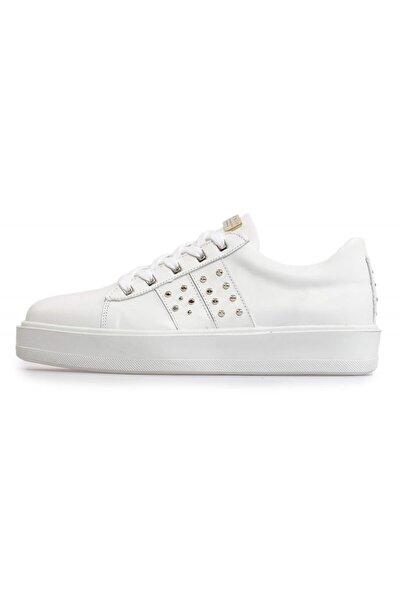Beyaz Deri Pimli Bağcıklı Erkek Sneakers