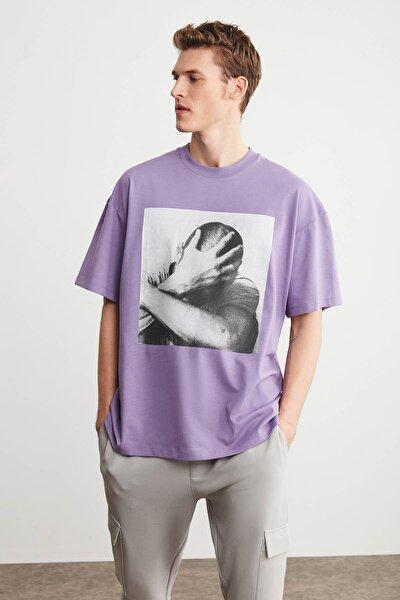 ELVIS Erkek Mor Oversize Önü Baskılı T-shirt