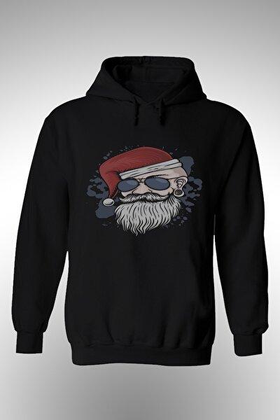 Noel Baba Şapkalı Gözlüklü Erkek Baskılı Kapşonlu Sweat.