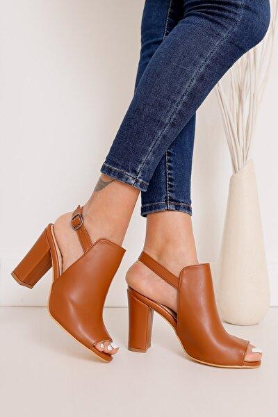 Quinn Topuklu Taba Cilt Ayakkabı