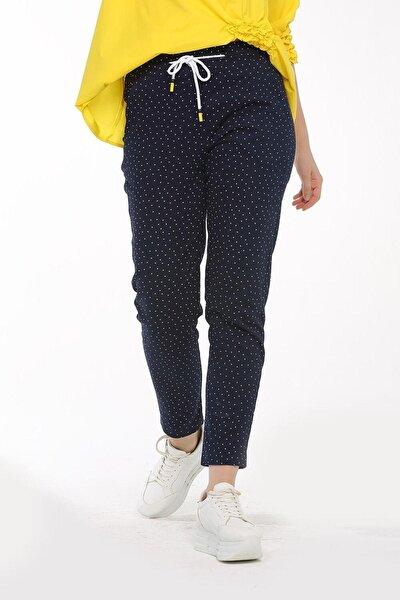Kadın - Lacivert, Trend, Jogger, Puantiyeli, Fermuar Detaylı, Kumaş, Bilek Boy Pantolon 20yz-5180