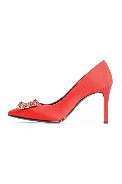 Kırmızı Saten Taşlı Abiye Ayakkabı