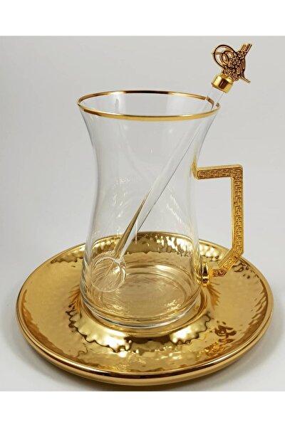 Tuğra Collection 18 Parça Altın Tuğra Armalı Çay Seti Takımı