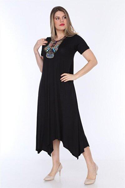 Siyah Yaka Taşlı Asimetrik Kesim Viskon Büyük Beden Elbise