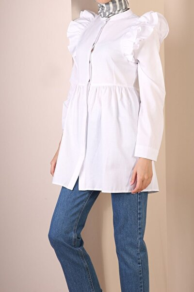 Beyaz Gizli Patlı Omuz Fırfır Detaylı Gömlek