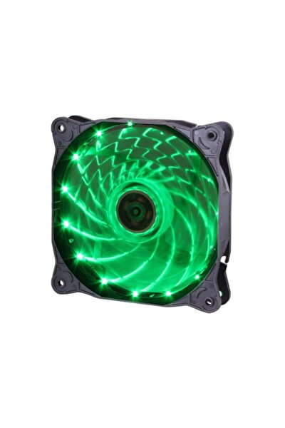12cm Kasa Fanı - 15 Led Li - 3d Görünüm - Silikon Pad - Yeşil