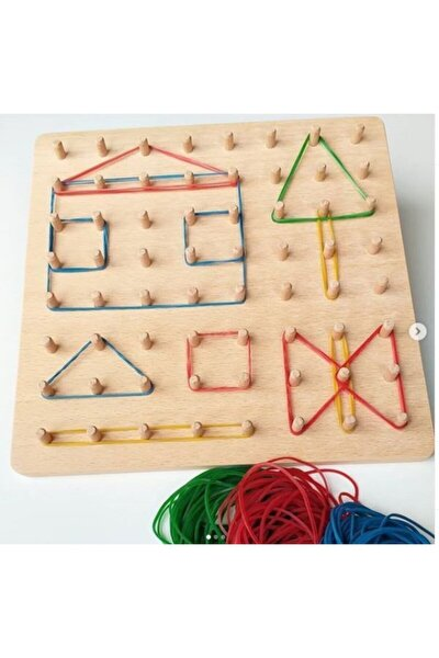 Geometrik Şekiller Lastikli Montessori Oyunu