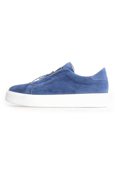Mavi Süet Fermuarlı Erkek Sneakers