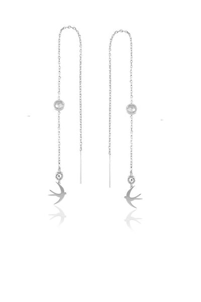 Gümüş Taşlı Zincirli Küpe Martı Modeli