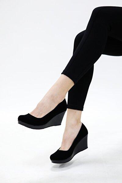 Dolgu Taban Dekolte Siyah Süet Ayakkabı