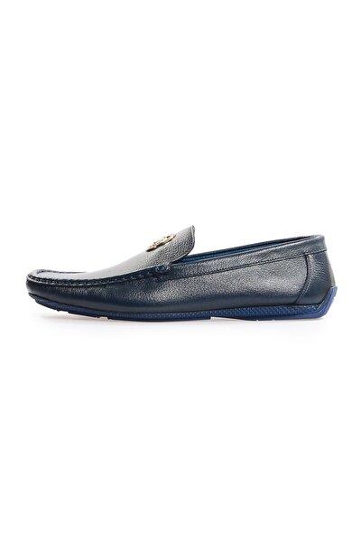 Lacivert Deri Toka Detaylı Loafer Ayakkabı