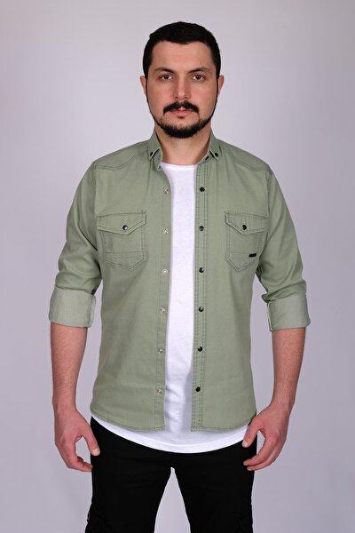 Erkek Su Yeşili Çift Cepli Çıtçıtlı Kot Gömlek 176060
