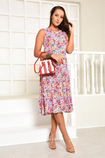 Kadın Askılı Çok Renkli Çiçek Desenli Kat Detaylı Elbise