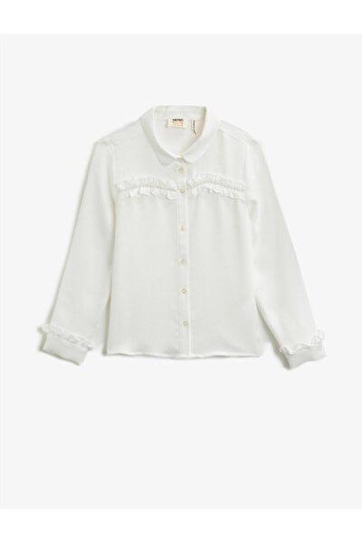 Kadın Beyaz Klasik Yaka Firfirli Uzun Kollu Gömlek