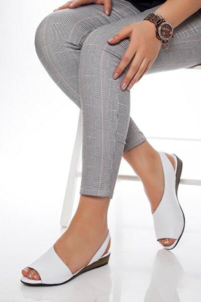 Hakiki Deri Beyaz Kadın Deri Sandalet Dp15-0051
