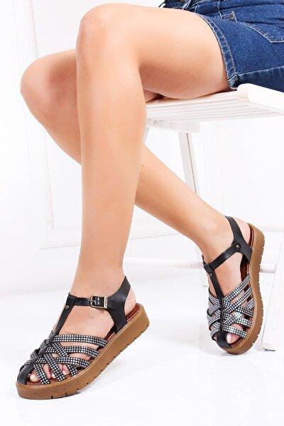 Hakiki Deri Siyah X3 Kadın Deri Sandalet Dp-0097
