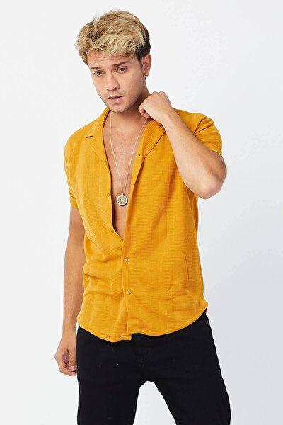 Erkek Kara Çizgi Apos Yaka Kısa Kol Hardal Gömlek