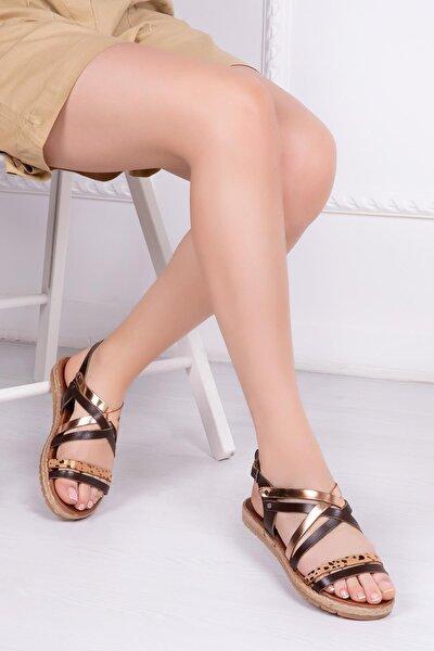 Hakiki Deri Kahve Altın Kadın Deri Sandalet Rma-7193