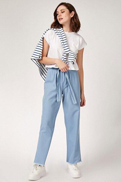 Kadın Bol Paça Buz Mavisi Pantolon 6469