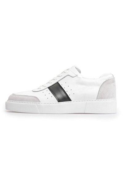 Beyaz Deri Gri Kombin Bağcıklı Erkek Sneakers