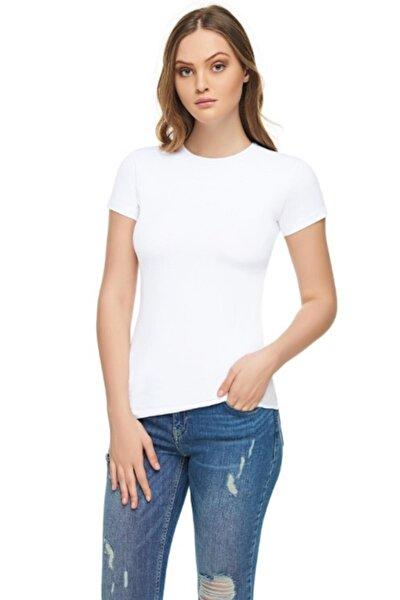 Kadın Beyaz Sıfır Yaka Likralı Kısa Kol T-shirt