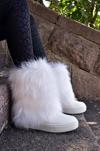 Gizli Topuk Tüylü Kışlık Beyaz Bot