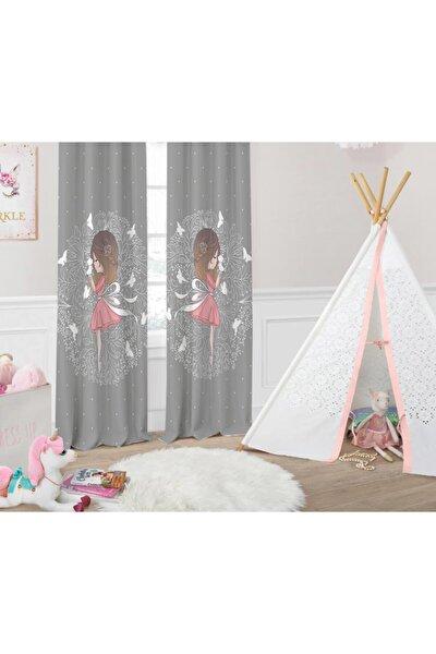 Kelebekli Kız Desenli Kız Çocuk Odası Fon Perdesi
