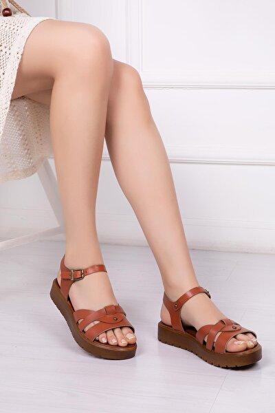 Hakiki Deri Taba Kadın Deri Sandalet Dp-1014