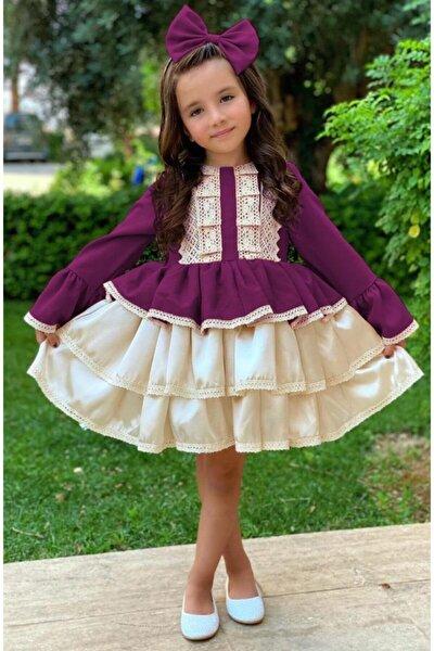 Kız Çocuk Krem Dantel Işlemeli Mürdüm Elbise