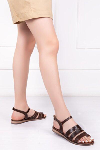 Hakiki Deri Kahverengi Kadın Deri Sandalet Rma-2162