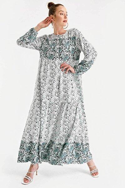 1943 Çiçek Desen Etek Ucu Valanlı Elbise