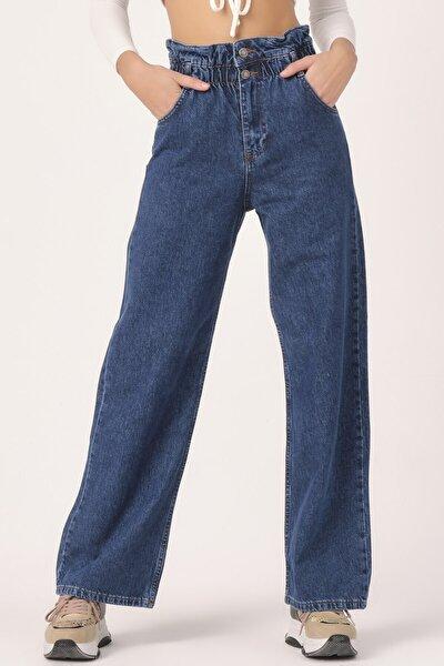 Kadın Mavi Renk Önden Düğmeli Beli Lastikli Flare Kalıp Bol Paça Jean