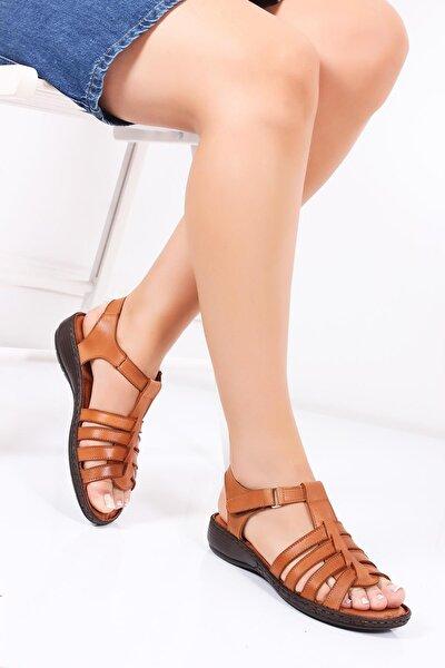 Hakiki Deri Taba Kadın Deri Sandalet Dc-0161