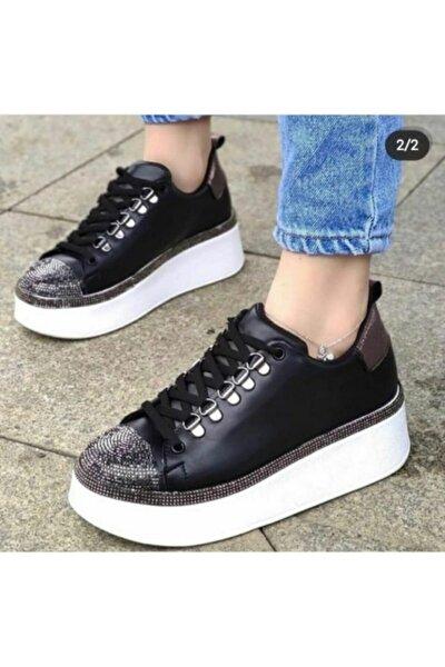 Siyah Taşlı Spor Ayakkabı