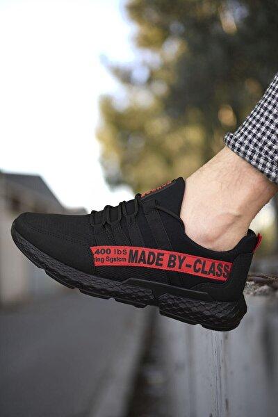 Siyah Kırmızı Erkek Cilt Sneaker 0012santo