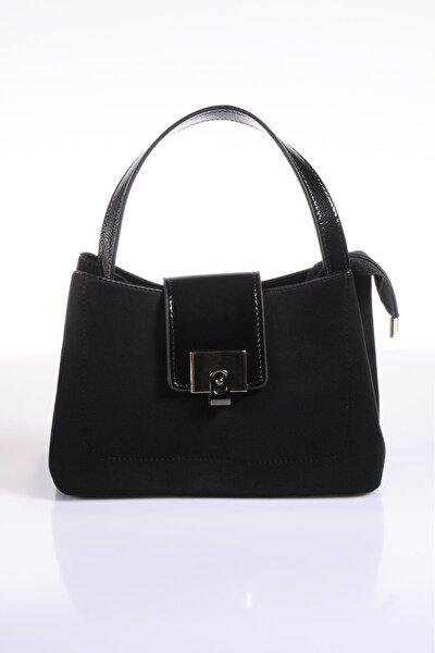 Luxury Td639 Süet Siyah Kadın Omuz Çantası