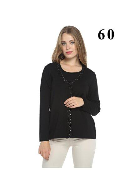 Siyah Swarovski Kristal Taş Işlemeli Hırka Bluz Yün Takım Italyan Yün