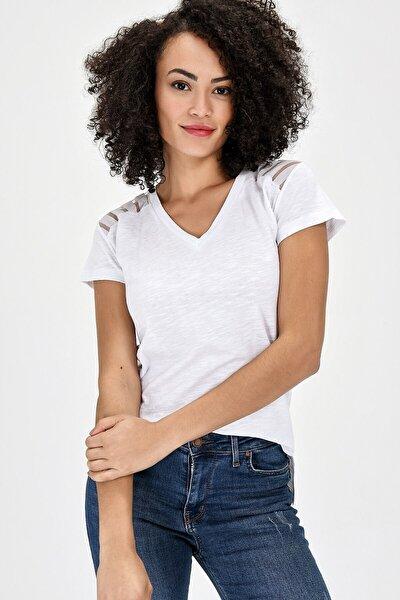 V Yaka Pamuk Şık Tül Detaylı Kısa Kol Bluz - Beyaz