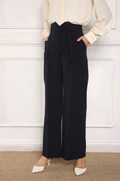 Lacivert Kemer Detaylı Cepli Kuşaklı Pantolon