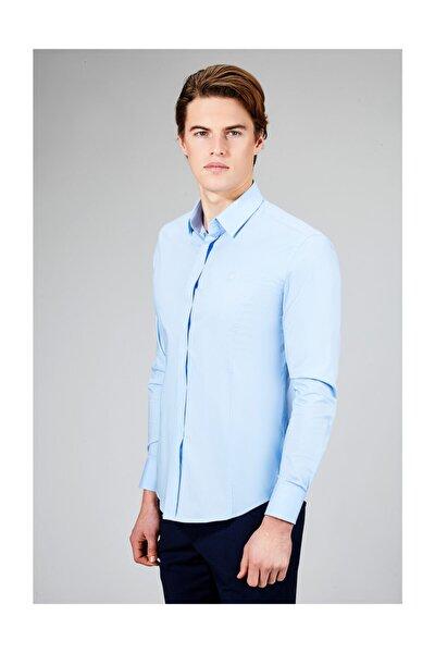 Erkek Mavi Düz Alttan Britli Slim Fit Gömlek B002209