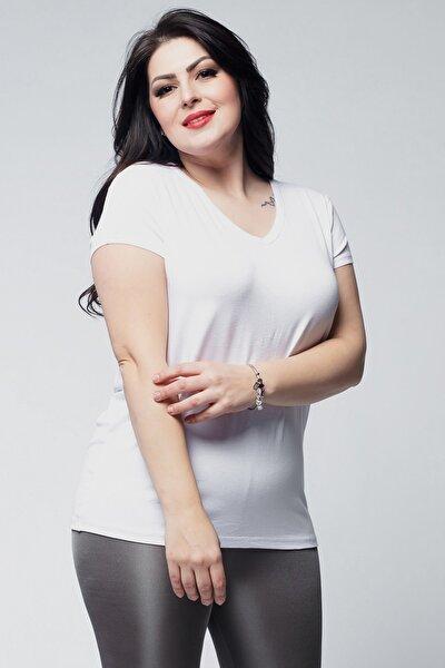 Kadın Büyük Beden V Yaka Basic Kısa Kollu Beyaz Tişört