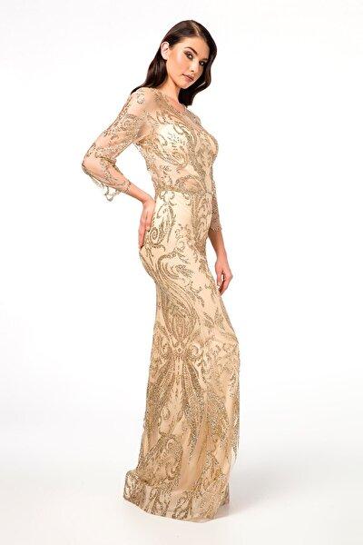 Gold Transparan Detaylı Simli Uzun Abiye Elbise