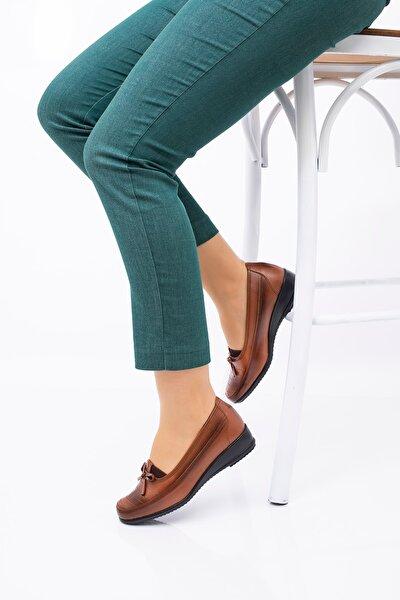 Kadın Kahverengi Suni Deri Ayakkabı