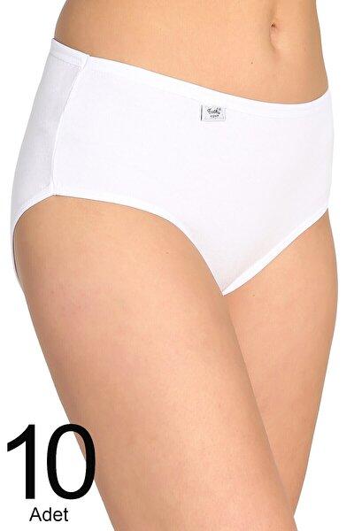 Kadın Beyaz 10'lu Paket Likralı Bato Külot Elf568t0924ccm10